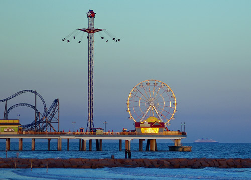 Ferriis wheel and departing ship at Galveston